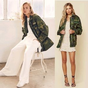 Free People Seize The Day Green Camo Jacket